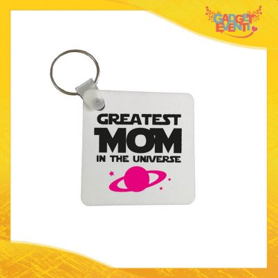 """Portachiavi Femminuccia """"Greatest Mom Universe"""" con Anello Quadrato Tondo a Cuore Idea Regalo Festa della Mamma Gadget Eventi"""