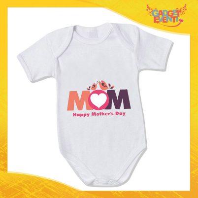"""Bodino Neonato """"Happy Mother's Day"""" Body Idea Regalo Festa della Mamma Gadget Eventi"""