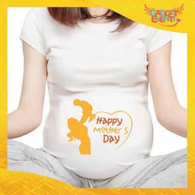 """T-shirt Premaman Bianca """"Happiness"""" idea regalo festa della mamma gadget eventi"""