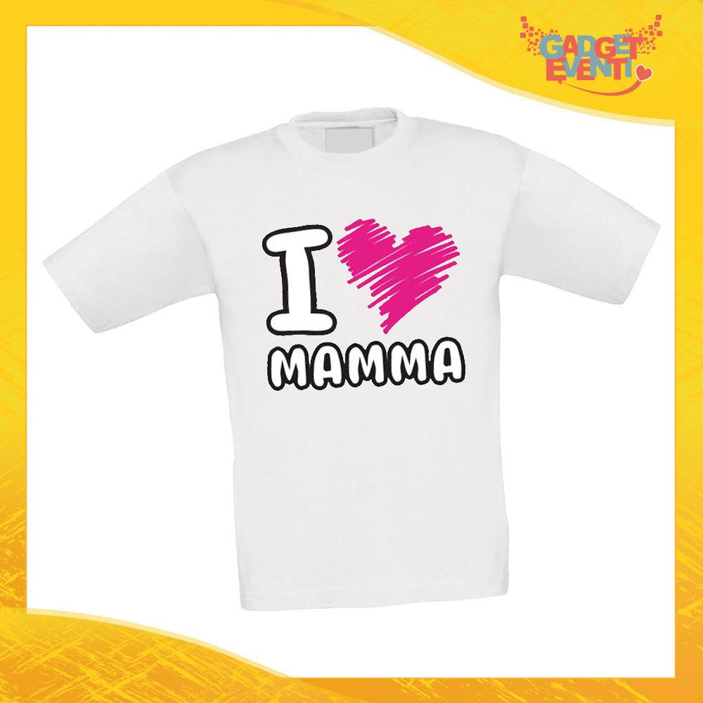 """Maglietta Bambino Bambina """"I Love Cuore"""" Idea Regalo T-shirt Festa della Mamma Gadget Eventi"""