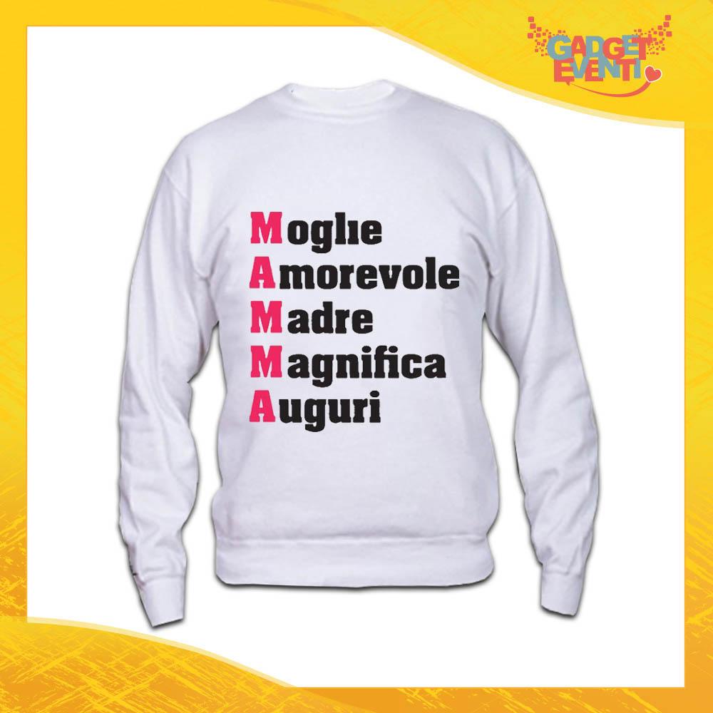 """Felpa Bianca """"Moglie Amorevole"""" Idea Regalo Festa della Mamma Gadget Eventi"""