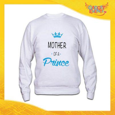 """Felpa Maschietto Bianca """"Mother Prince Princess"""" Idea Regalo Festa della Mamma Gadget Eventi"""