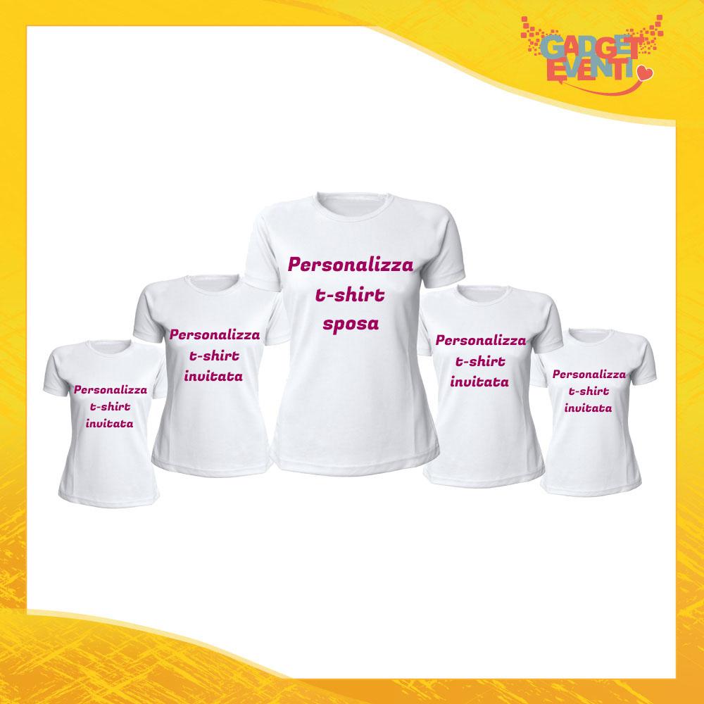 Componi il tuo Pacchetto di T-Shirt Bianche Donna Personalizzate per Addii al Nubilato Magliette Maglie Divertimento Feste Hot Sposa Gadget Eventi