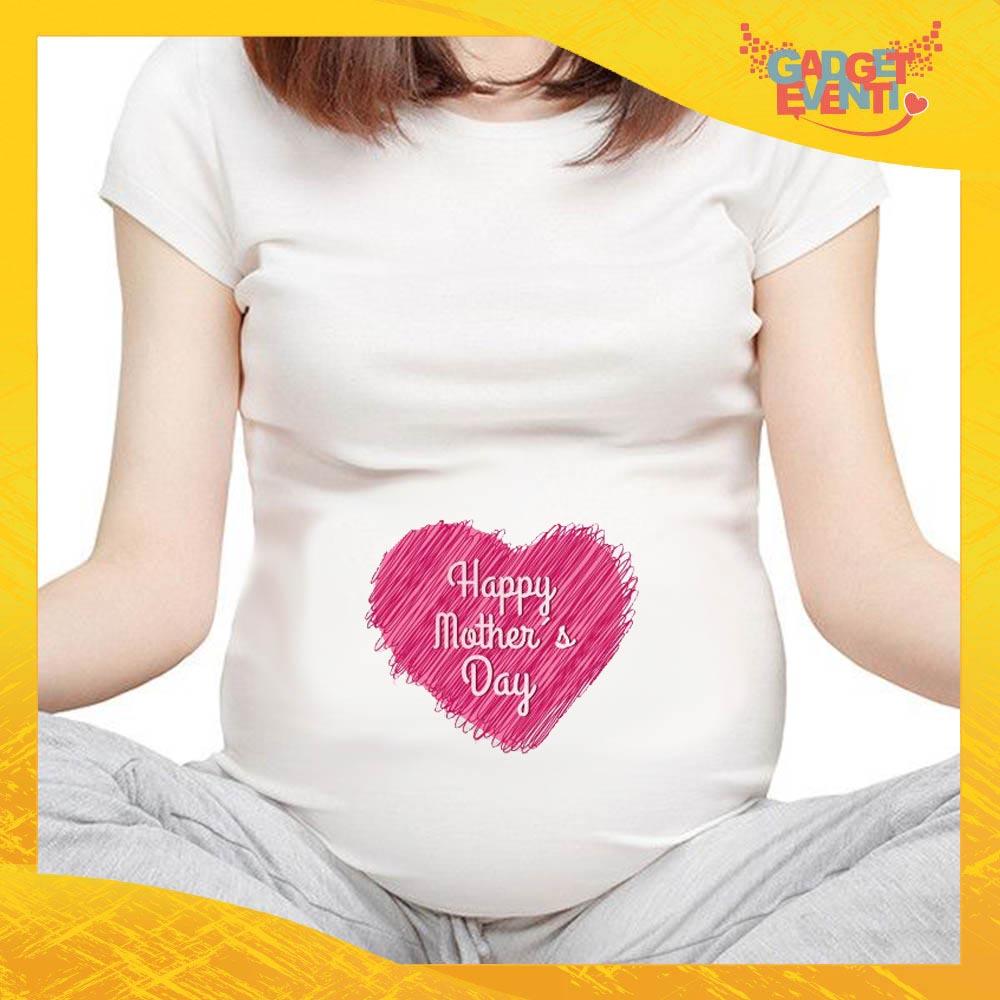 """T-shirt Premaman """"Pink Heart"""" idea regalo festa della mamma gadget eventi"""