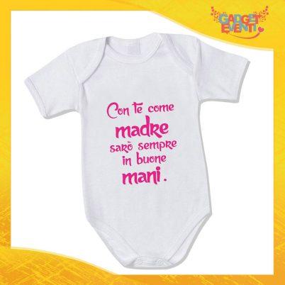 """Bodino Femminuccia """"Sarò sempre in Buone Mani"""" body bimbo Idea Regalo Festa della Mamma Gadget Eventi"""