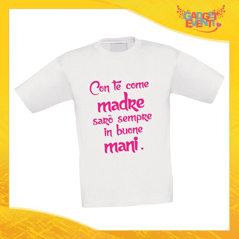 """Maglietta Bambino Bambina """"Sarò sempre in Buone Mani"""" Idea Regalo T-shirt Festa della Mamma Gadget Eventi"""