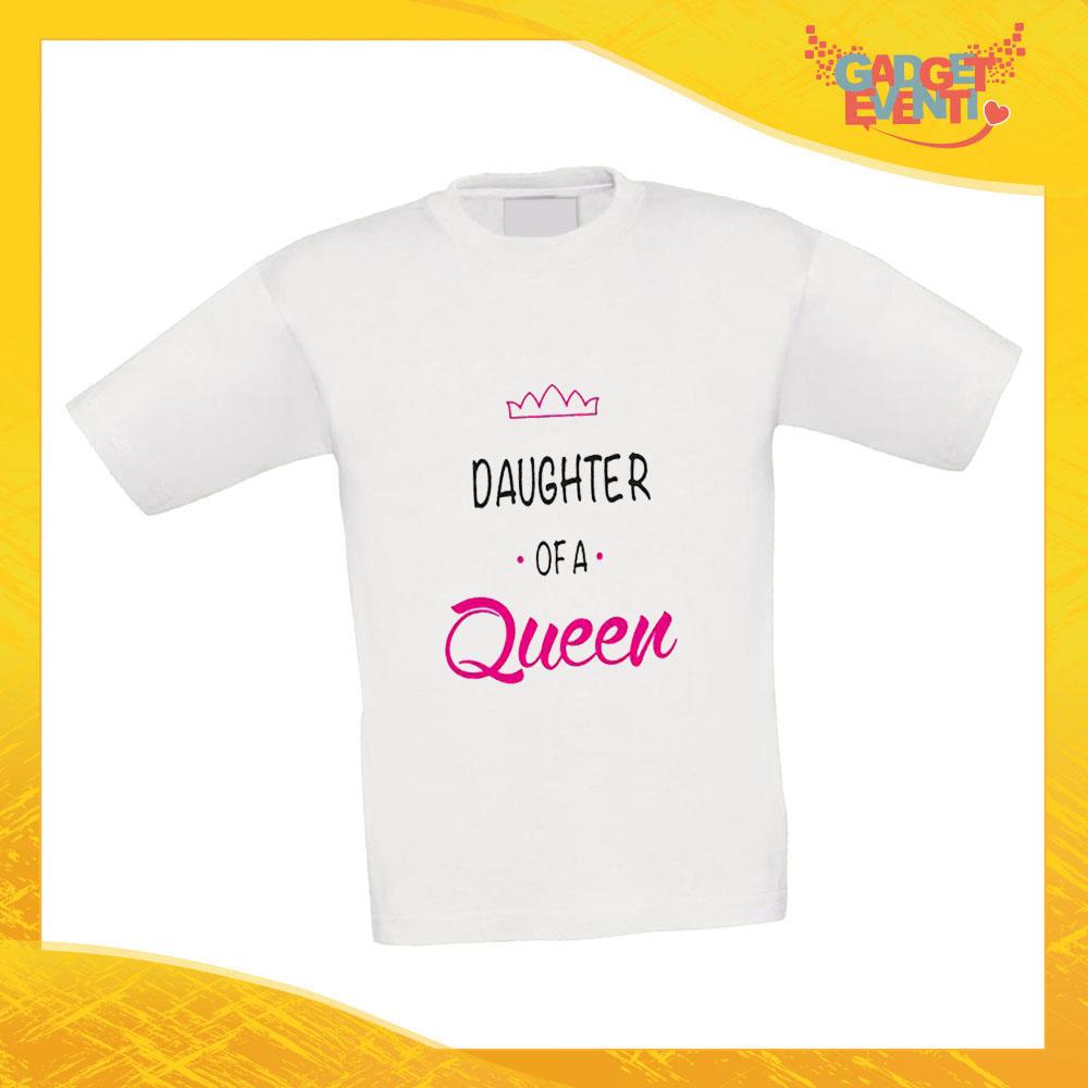 """Maglietta Bambino Bambina """"Son Daughter Queen"""" Idea Regalo T-shirt Festa della Mamma Gadget Eventi"""