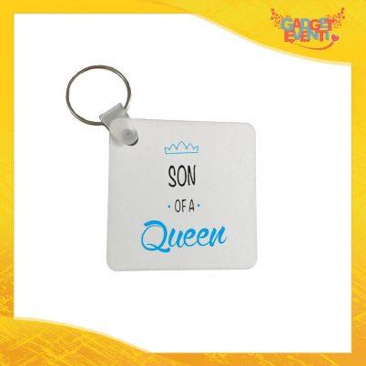"""Portachiavi Maschietto """"Son Daughter Queen"""" con Anello Quadrato Tondo a Cuore Idea Regalo Festa della Mamma Gadget Eventi"""
