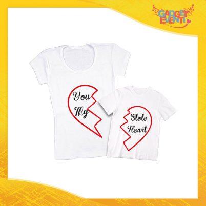 """Coppia t-shirt bianca bambino """"Stole My Heart"""" madre figli idea regalo festa della mamma gadget eventi"""
