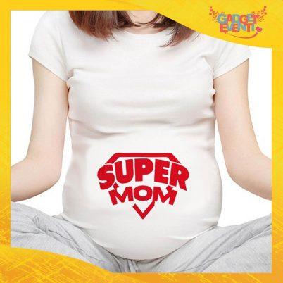 """T-shirt Premaman Bianca """"Super Mom"""" idea regalo festa della mamma gadget eventi"""