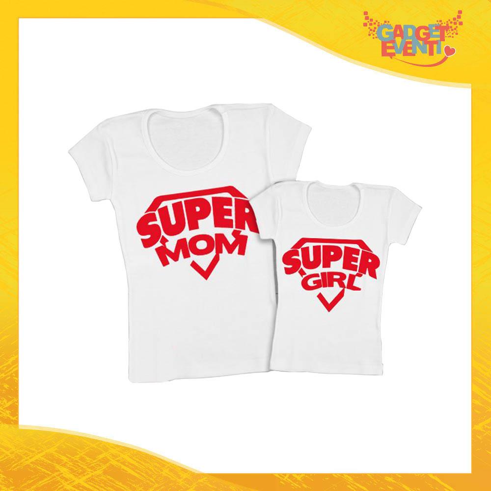 """Coppia t-shirt bianca femminuccia """"Super Mom"""" madre figli idea regalo festa della mamma gadget eventi"""