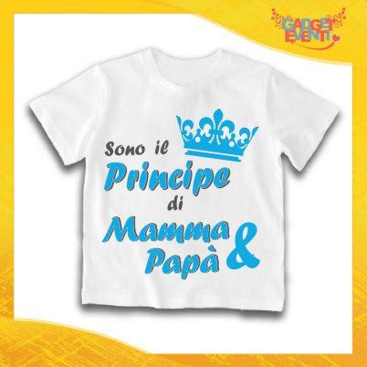 """Maglietta Bianca Maschietto Bimbo """"Principe di Mamma e Papà"""" Idea Regalo T-Shirt Gadget Eventi"""