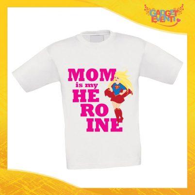 """Maglietta Bambino Bambina """"Mom is my Heroine"""" Idea Regalo T-shirt Festa della Mamma Gadget Eventi"""
