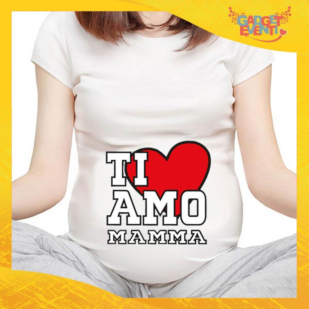 """T-shirt Premaman Bianca """"Ti Amo"""" idea regalo festa della mamma gadget eventi"""