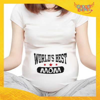 "T-shirt Premaman Bianca ""World's Best Mom"" idea regalo festa della mamma gadget eventi"