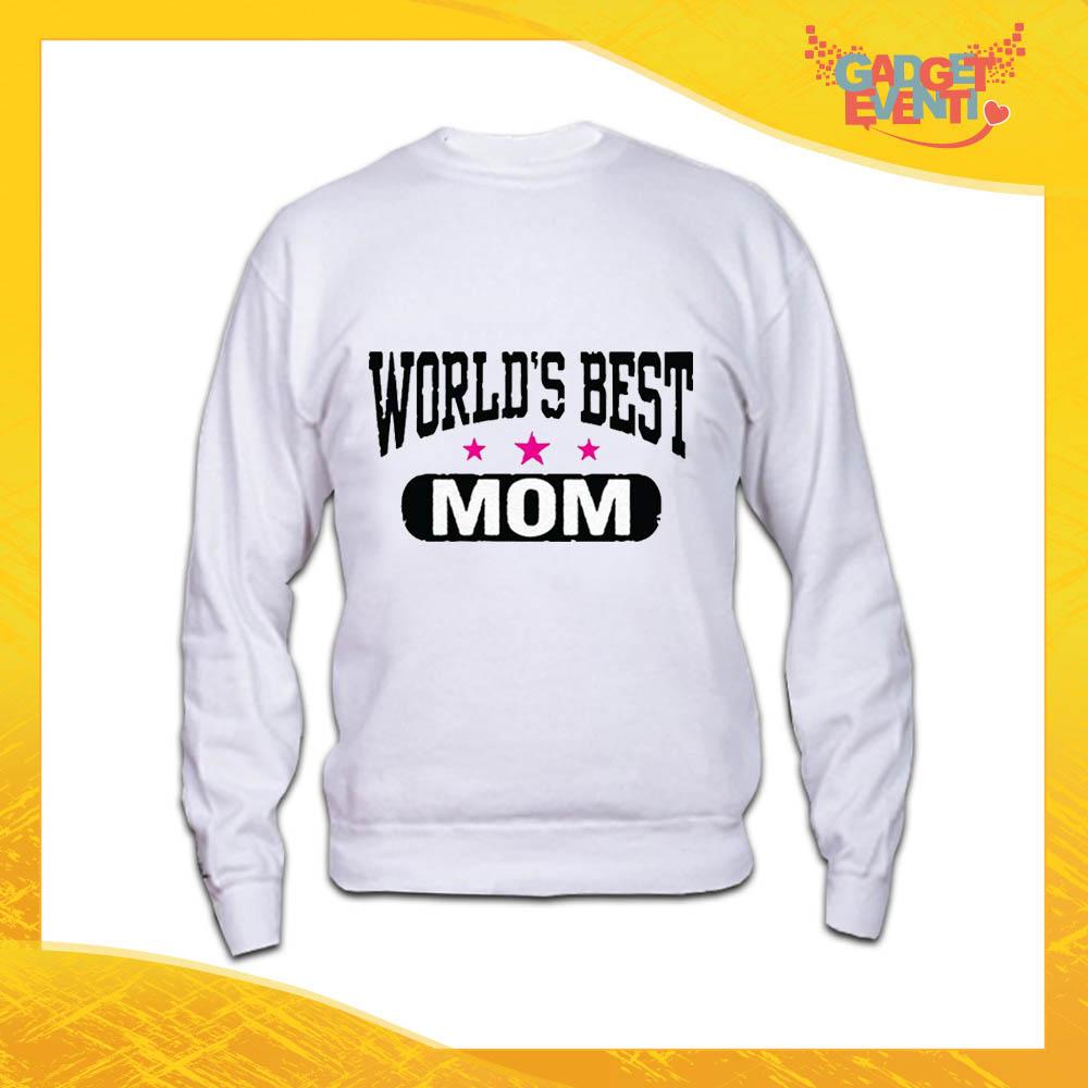 """Felpa Bianca """"World's Best Mom"""" Idea Regalo Festa della Mamma Gadget Eventi"""