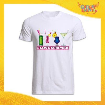 """maglietta t-shirt uomo bianca """"I love summer"""" Idea Regalo Linea Gadget Eventi"""