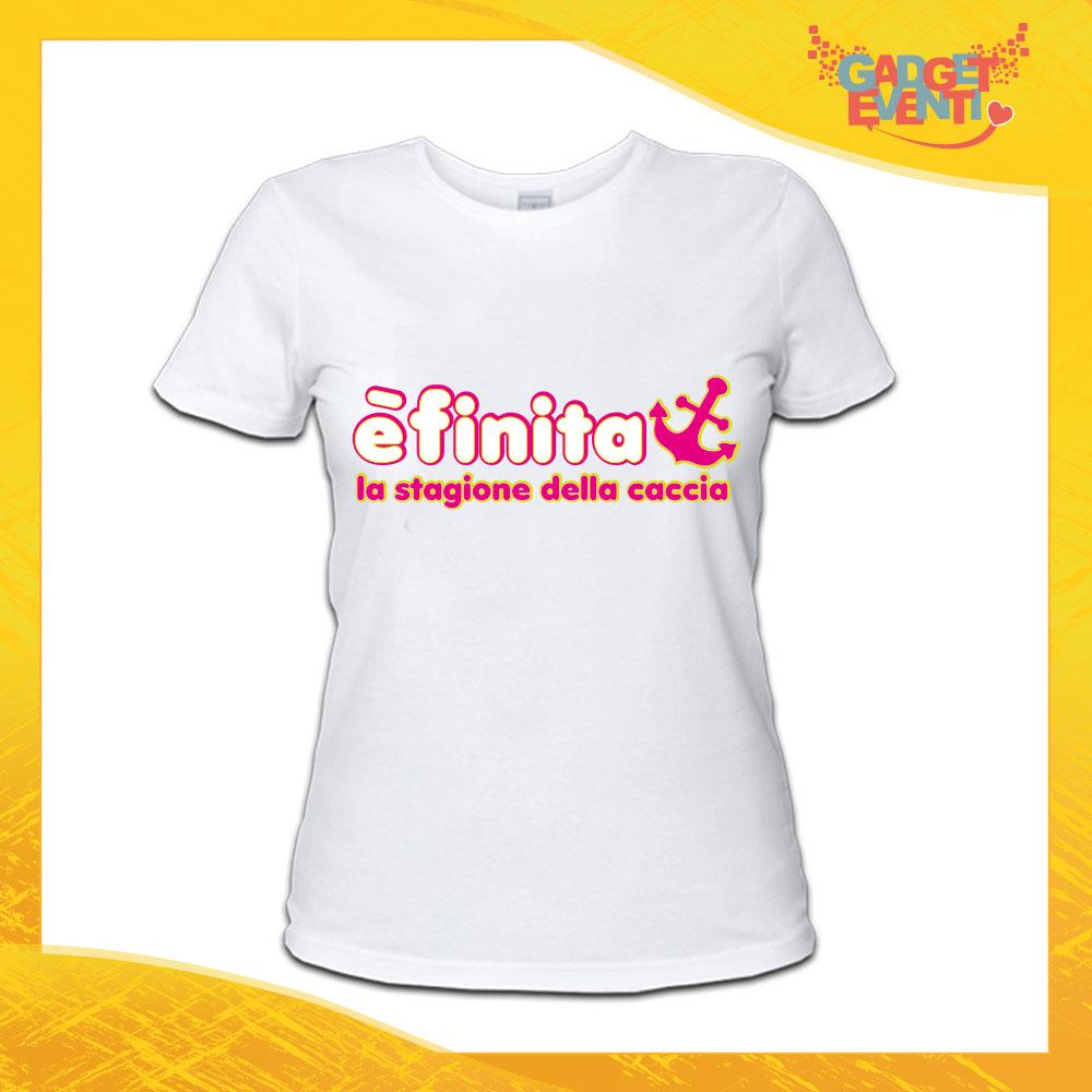 """maglietta t-shirt bianca addio al nubilato """"è finita la stagione della caccia"""" - Gadget Eventi"""
