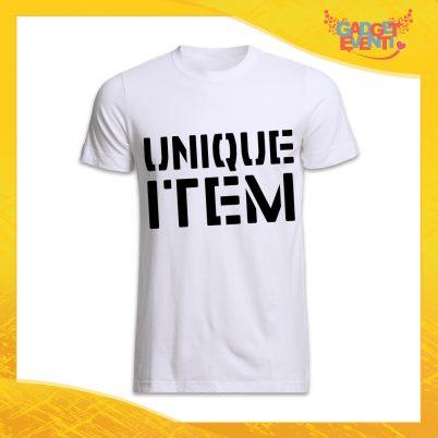 """Maglietta T-Shirt uomo Bianca Grafica nera """"Unique Item"""" Idea Regalo Linea Gadget Eventi"""