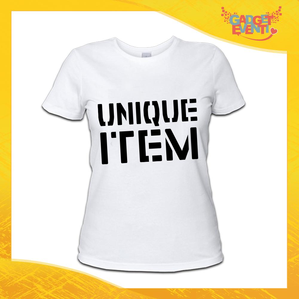 """Maglietta T-Shirt Donna Bianca Grafica nera """"Unique Item"""" Idea Regalo Linea Gadget Eventi"""