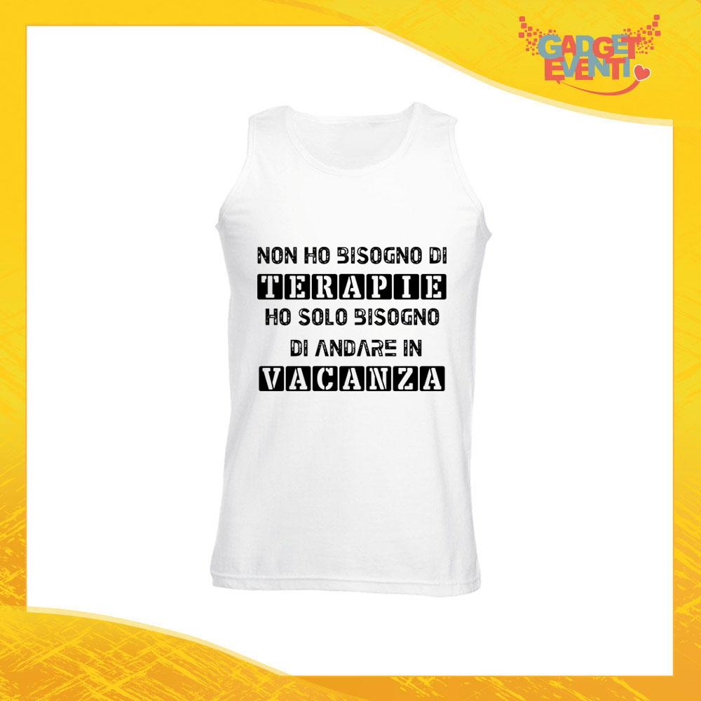 """Canotta Uomo Bianca """"Terapia Vacanza"""" Maglietta per l'estate Smanicato Gadget Eventi"""