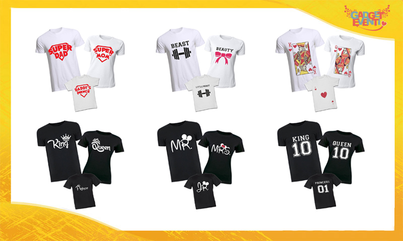 Vesti la tua Famiglia in modo coordinato. Scegli i nostri Tris di T-shirt coordinate Magliette per Famiglie Gadget Eventi