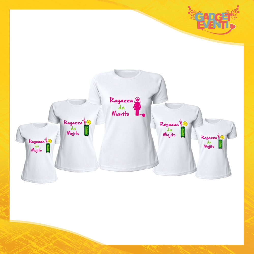 """Pacchetto T-Shirt Bianche Addio al Nubilato """"Ragazza da Marito o Mojito"""" Magliette Maglie Divertimento Feste Hot Sposa Gadget Eventi"""