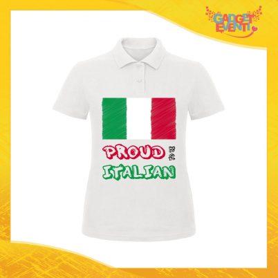 """Polo Donna Bianca """"Proud to Be Italian"""" Maglietta per l'estate Maglia Scollo a V Gadget Eventi"""