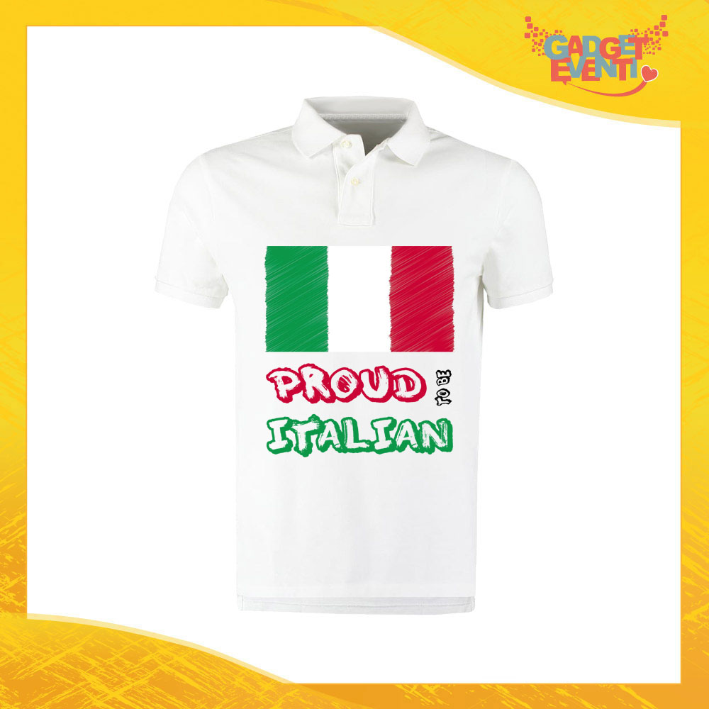 """Polo Uomo Bianca """"Proud to Be Italian"""" Maglietta per l'estate Maglia Scollo a V Gadget Eventi"""