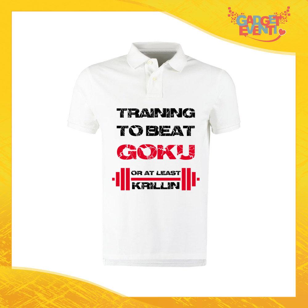 """Polo Uomo Bianca """"Training to Beat Goku"""" Maglietta per l'estate Maglia Scollo a V Gadget Eventi"""