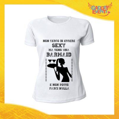 """T-Shirt Donna Bianca Personalizzata per Mestiere """"Barista"""" Barmaid Maglietta per l'estate Gadget Eventi"""