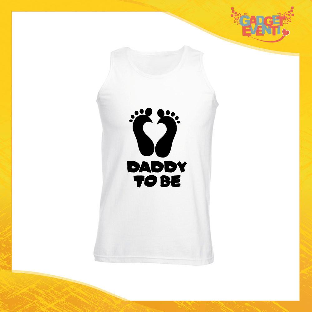 """Canotta Uomo Bianca """"Daddy to Be"""" Maglietta per l'estate Smanicato Gadget Eventi"""