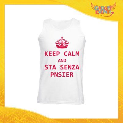 "Canotta Uomo Bianca ""Keep Calm Senza Pnsier"" Maglietta per l'estate Smanicato Gadget Eventi"