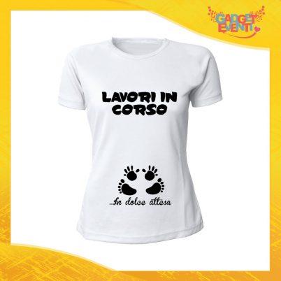 """T-Shirt Donna Bianca """"Dolce Attesa"""" Maglia Maglietta per l'estate Grafiche Divertenti Futura Mamma Gadget Eventi"""