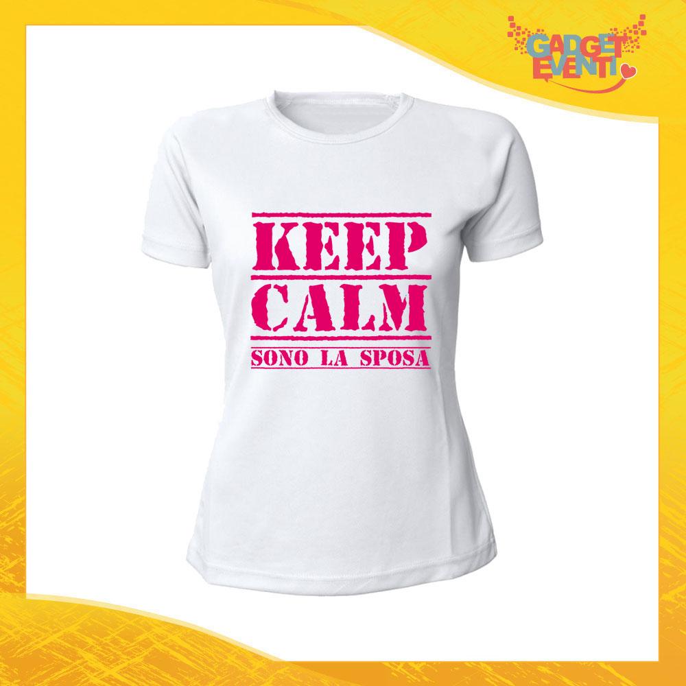"""T-Shirt Bianca Addio al Nubilato """"Keep Calm Sposa"""" Magliette Maglie Divertimento Feste Hot Sposa Gadget Eventi"""