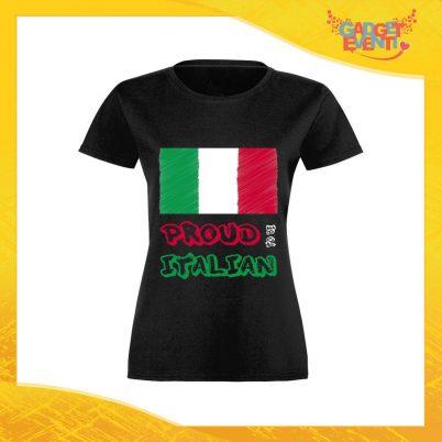 """T-Shirt Donna Nera """"Proud to Be Italian"""" Maglia Maglietta per l'estate Grafiche Divertenti Gadget Eventi"""