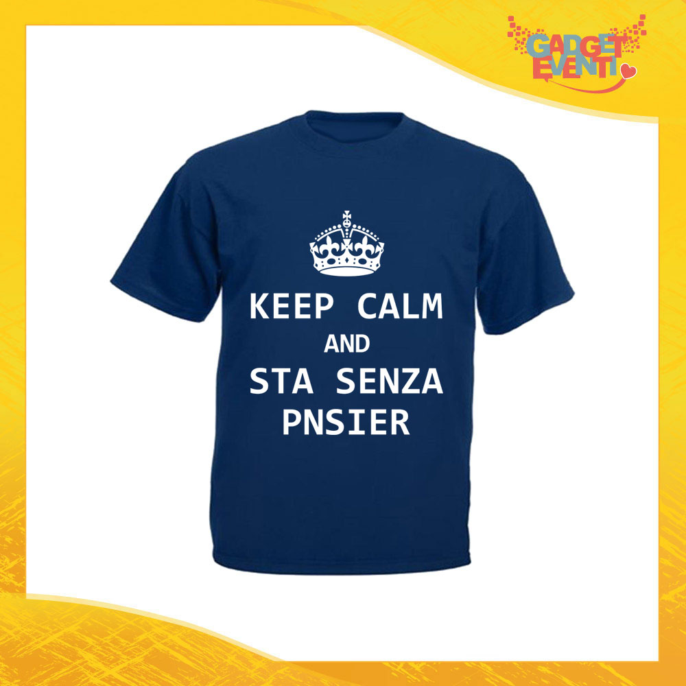 "T-Shirt Uomo Blu Navy ""Keep Calm Senza Pnsier"" Maglia Maglietta per l'estate Grafiche Divertenti Gadget Eventi"