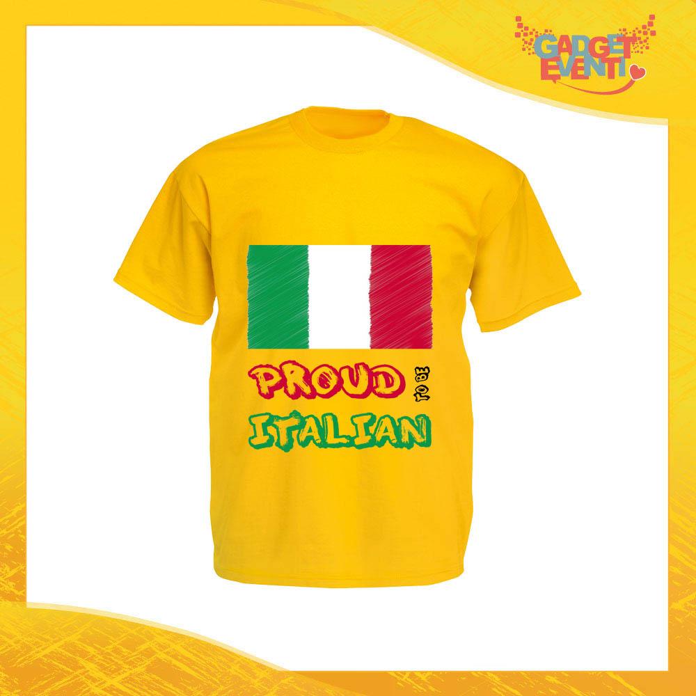 """T-Shirt Uomo Giallo Sunflower """"Proud to Be Italian"""" Maglia Maglietta per l'estate Grafiche Divertenti Gadget Eventi"""