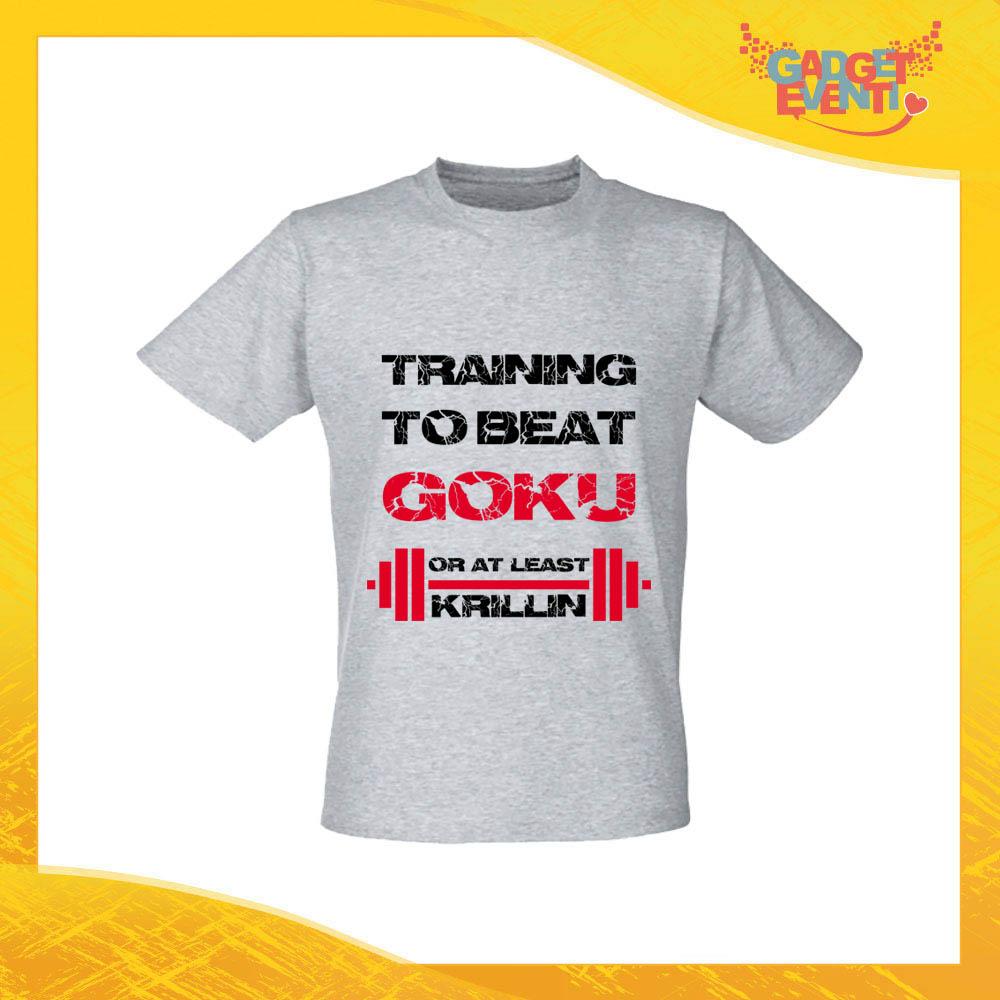 """T-Shirt Uomo Grigia """"Training to Beat Goku"""" Maglia Maglietta per l'estate Grafiche Divertenti Gadget Eventi"""