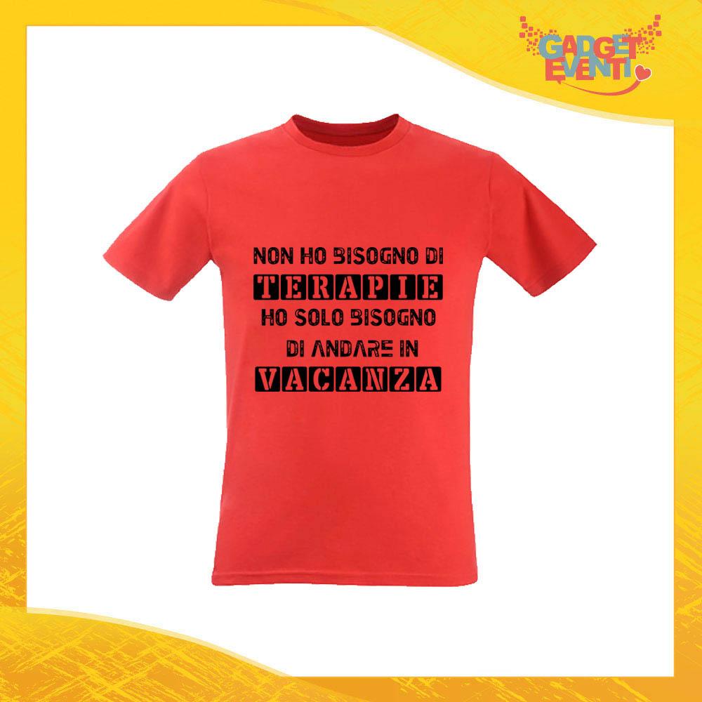 """T-Shirt Uomo Rossa """"Terapia Vacanza"""" Maglia Maglietta per l'estate Grafiche Divertenti Gadget Eventi"""