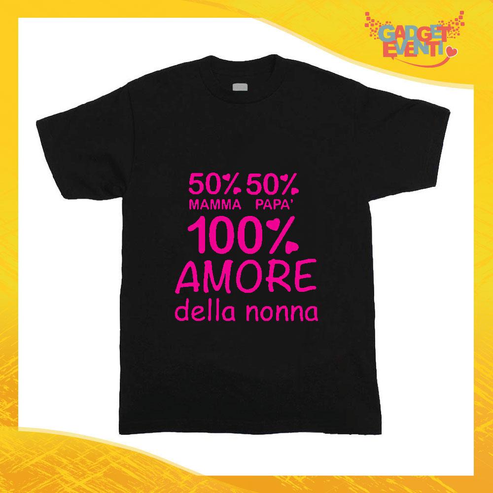 """T-Shirt nera bimba femminuccia """"Amore Della Nonna Idea Regalo Gadget Eventi"""