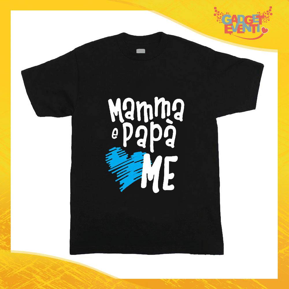 """T-Shirt nera bimbo maschietto """"Mamma e Papà Me"""" Idea Regalo Gadget Eventi"""
