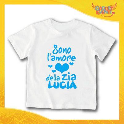 """T-Shirt bianca bimbo maschietto """"Amore Zia Lucia"""" Idea Regalo Gadget Eventi"""