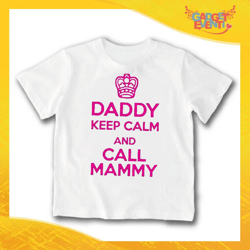 "T-Shirt bianca bimba femminuccia ""Daddy Keep Calm"" Idea Regalo Gadget Eventi"