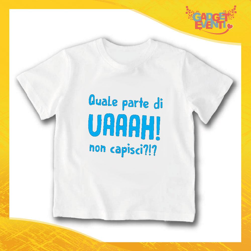 """T-Shirt bianca bimbo maschietto """"Quale Parte non Capisci"""" Idea Regalo Gadget Eventi"""
