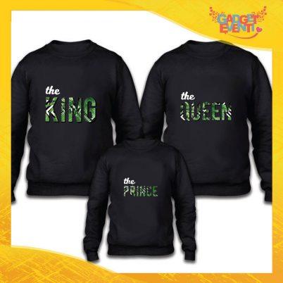 """Tris felpe nero famiglia """"King Queen Prince"""" Grafiche divertenti Gadget Eventi"""