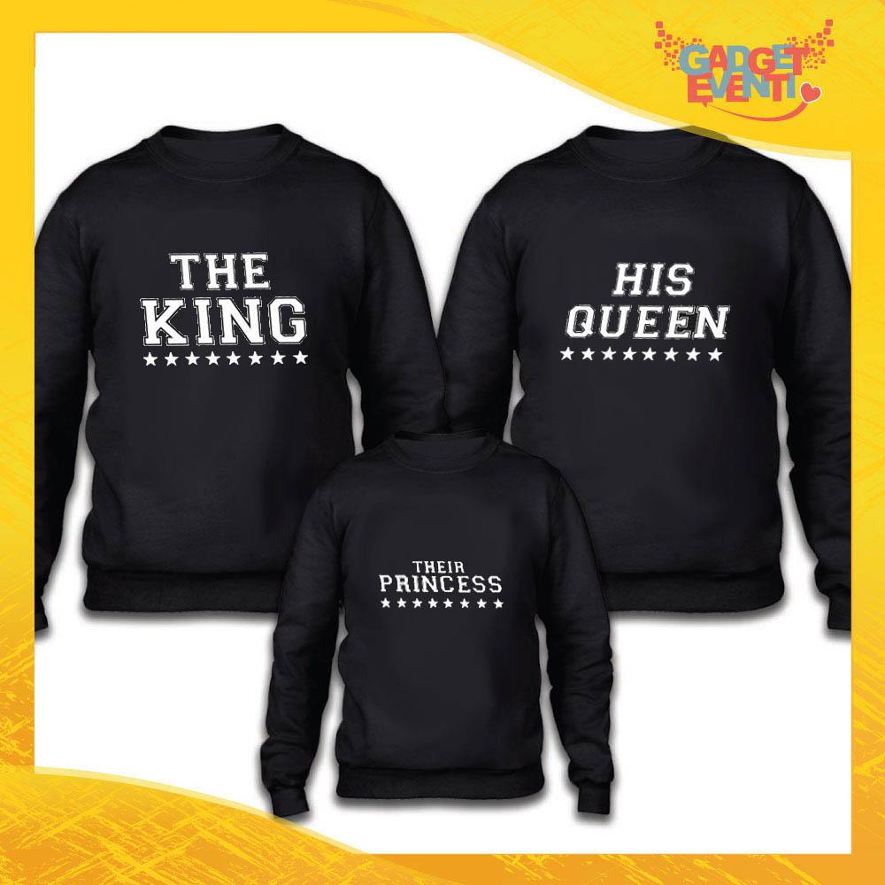 """Tris felpe nero famiglia """"King Queen Princess Stelle"""" Grafiche divertenti Gadget Eventi"""