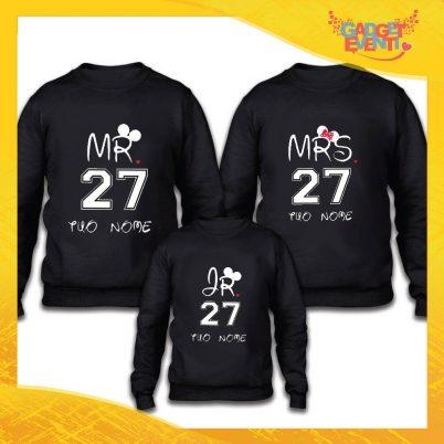 """Tris felpe nero famiglia """"Mr Mrs Junior maschietto"""" Grafiche divertenti Gadget Eventi"""