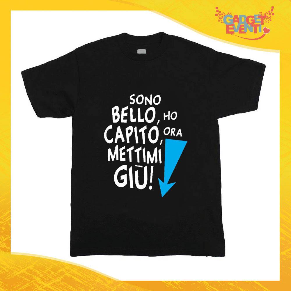 """T-Shirt nera bimbo maschietto """"Sono bello mettimi giù"""" Idea Regalo Gadget Eventi"""