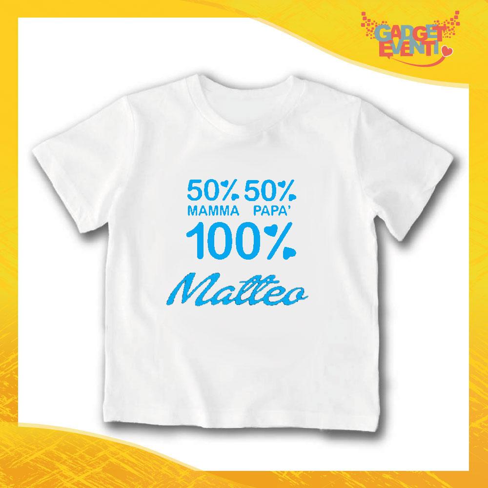 "T-Shirt bianca bimbo maschietto ""100% Matteo"" Idea Regalo Gadget Eventi"